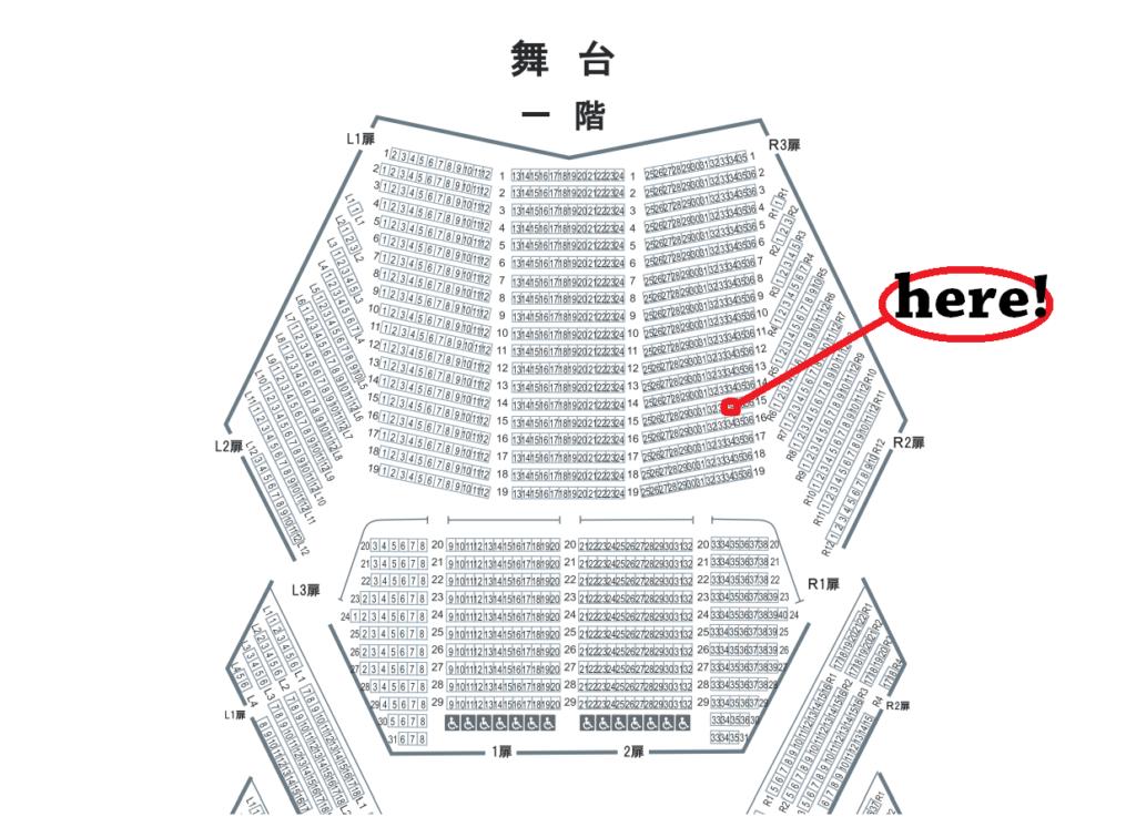 東京文化会館大ホール1階15列34番